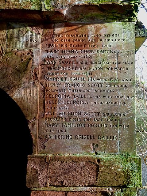 An inscription on a burial vault at Mertoun