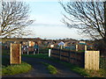 TL2886 : Entrance to the allotments by Richard Humphrey