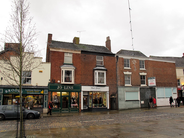 Shops and closed bank
