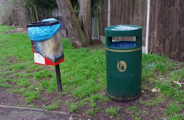Dog waste bin and litter bin in playing field, Wollaston, Stourbridge