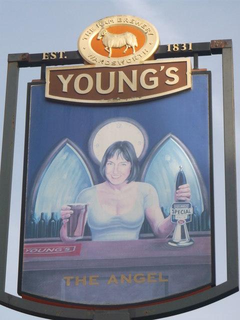 The Angel pub sign, Putney Heath
