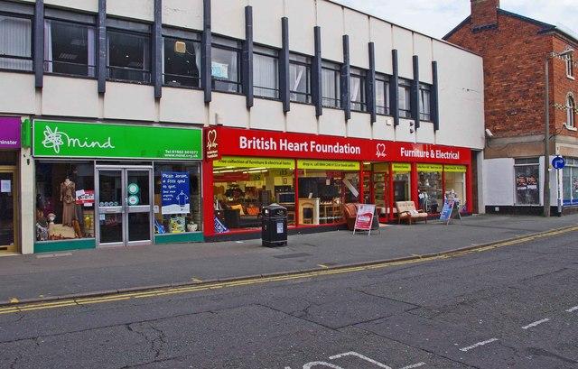 Charity shops at 26 & 27 Worcester Street, Kidderminster