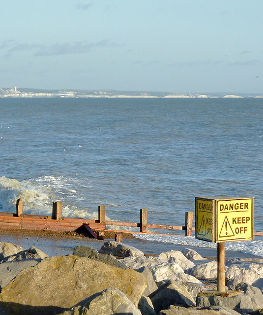 Boulders and groynes near Worthing, West Sussex