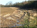 SE3726 : Waterlogged stubble at a field's edge by Christine Johnstone