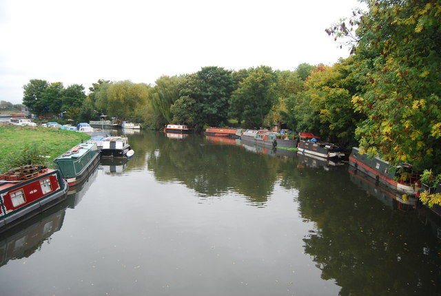 Boat lined River Lea