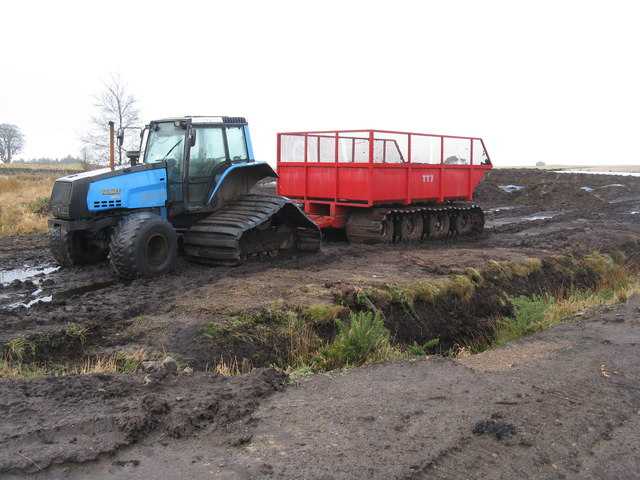 Peat extraction machinery at Whim Moss