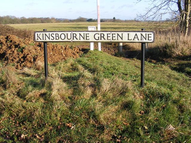 Kinsbourne Green Lane sign