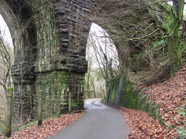 Taff Trail passing under Quaker's Yard viaduct