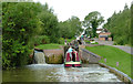 SP1756 : Narrowboat entering Lock No 46 near Wilmcote, Warwickshire by Roger  Kidd