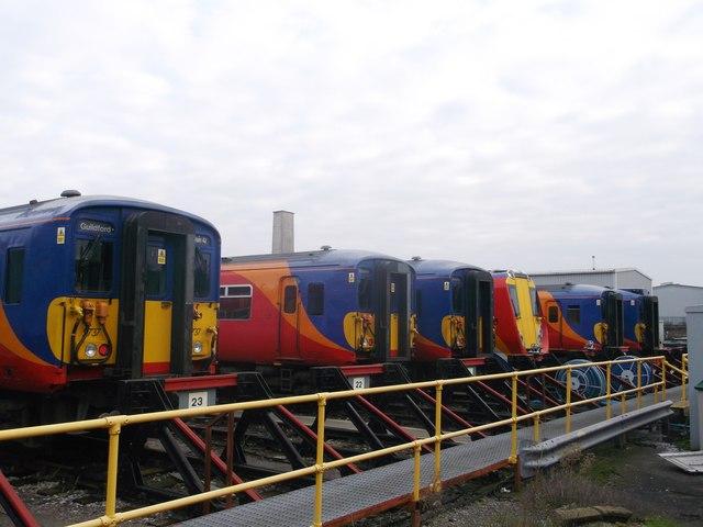 Sidings and trains, Wimbledon traincare depot