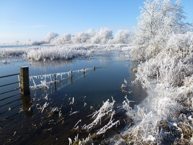 Flooded and frozen - The Ouse Washes near Welney