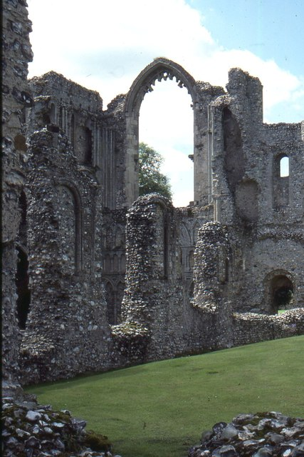 Castle Acre Priory: view from the north transept towards the west front