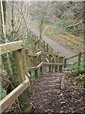 SS9086 : Steps down to the Garw Valley Community Route near Bettws by eswales