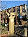 SD3417 : Stone gatepost and Gordon House by John S Turner