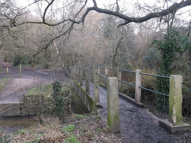 Footbridge over Beverley Brook,  near Wimbledon Common