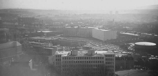 Canon's Marsh, Bristol, from Cabot Tower, 1966