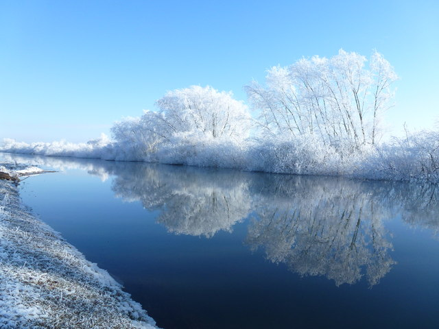 Winter reflections in The River Delph - The Ouse Washes near Welney