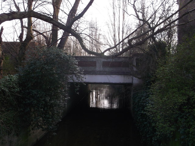 Roehampton Vale A3 road bridge over the Beverley Brook