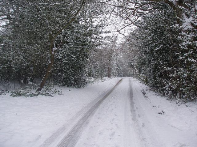 Arkley Lane in the snow
