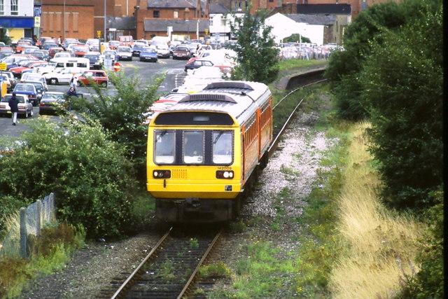 Train leaving Wrexham Central station