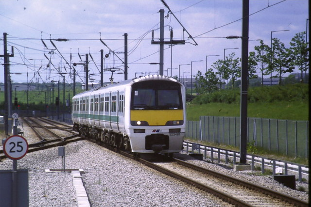 Train arriving at Stansted Airport