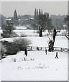 TL4355 : Snowy meadows between Grantchester and Trumpington by John Sutton