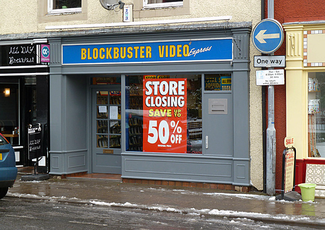 Closing down sale at Blockbuster Video, Bank Street, Galashiels