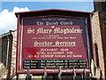 NY5057 : The Parish Church of St Mary Magdalene, Hayton, Nameboard by Alexander P Kapp