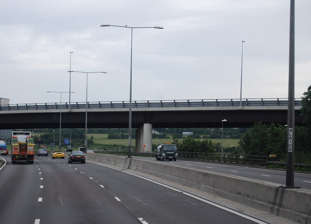 Slip road bridge off the A2 over the M25