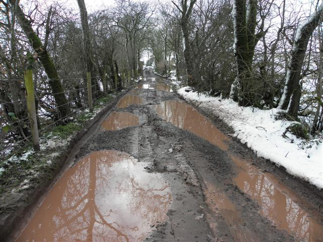 Potholes along a country lane, Radergan
