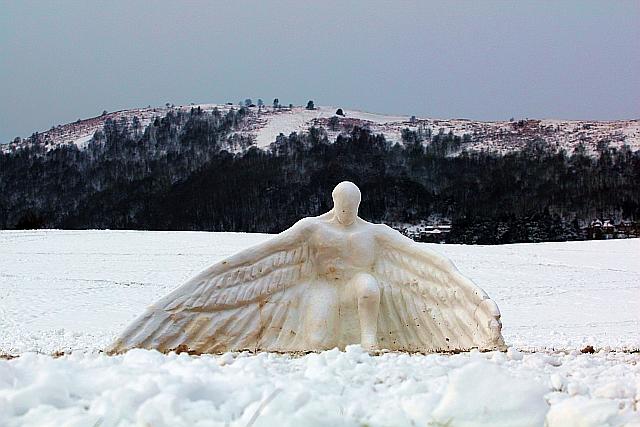 Ice angel on Peachfield Common, Malvern