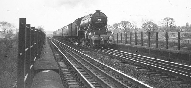 Flying Scotsman at Southburn Dene viaduct, 1968