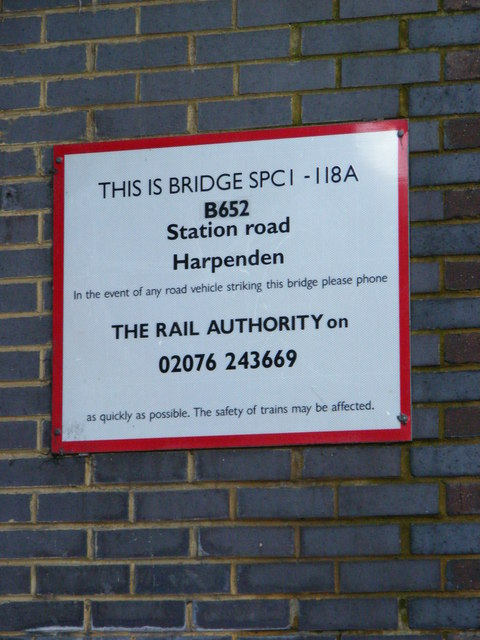 B652 Station Road Railway Bridge sign