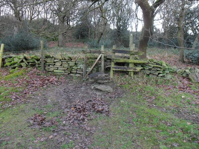 Footpath and stile, near Holmfirth