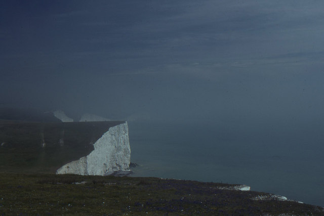 Looking east along the Seven Sisters, in a sea mist