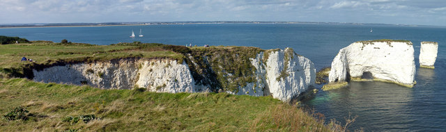 Chalk cliffs and stacks at Handfast Point