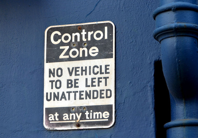 "Surviving ""control zone"" sign, Belfast"