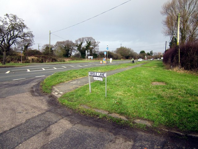 Junction of the A5117 and Bridle Lane