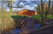 SO8475 : Footbridge over the Hoo Brook, from Spennells Valley Nature Reserve car park, Kidderminster by P L Chadwick