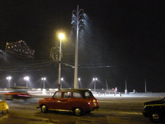 Blackpool: sleet and taxis on the Promenade