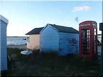 SZ1891 : Hengistbury Head: phone box on Mudeford Spit by Chris Downer