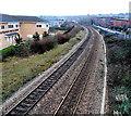 ST1167 : Railway west from Thompson Street footbridge, Barry by Jaggery