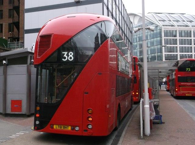 The Boris Bus comes into Victoria Bus Station
