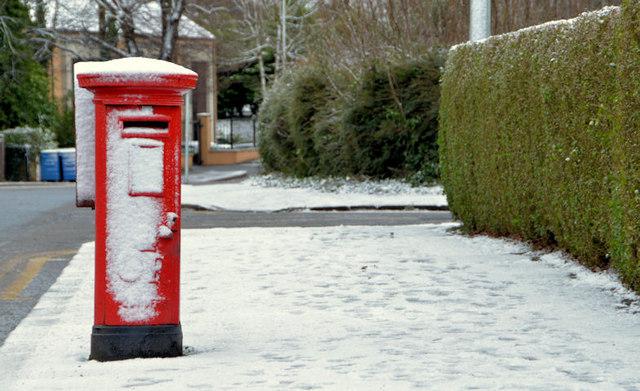 Snow and pillar box, Belfast