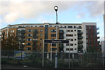 TQ3877 : Greenwich Station sign and developments beyond by N Chadwick