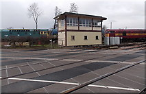 SO6302 : Lydney Junction signalbox, level crossing and three locomotives by Jaggery