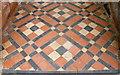 SJ4918 : Door Tiling, St John the Baptist Church, Ellesmere Road, Albrighton, near Shrewsbury, Shropshire by Terry Robinson