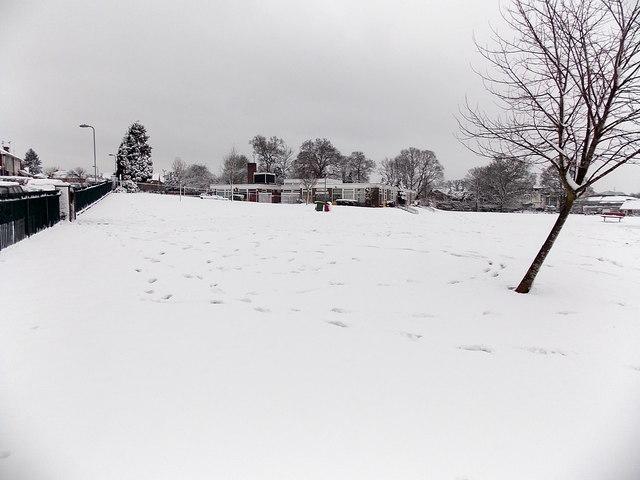 Snow-covered field, Malpas Park Primary School, Newport