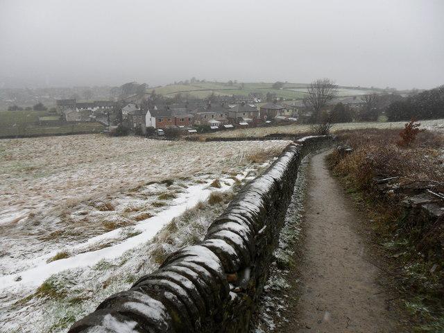 Walled footpath, near Hall Bower