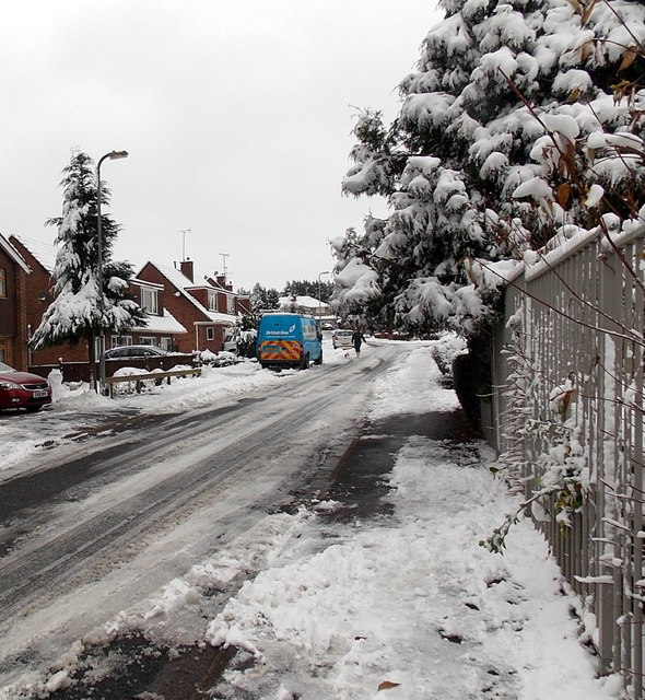 British Gas van in snowy Harding Avenue, Malpas, Newport